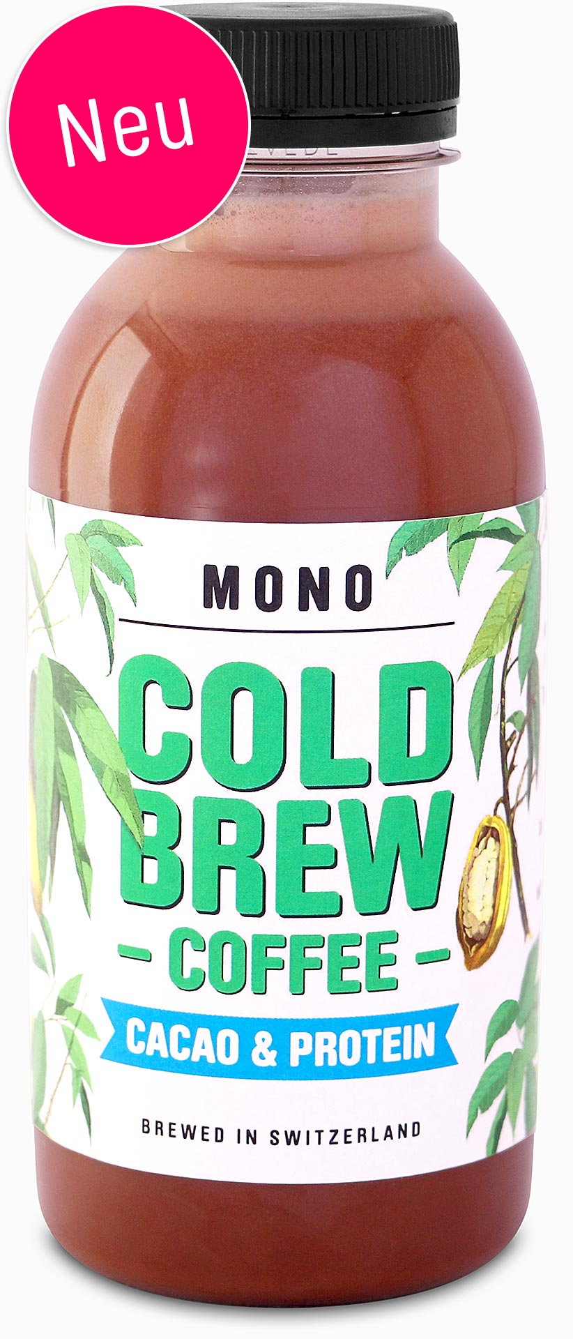 MONO Cold Brew Coffee Cacao & Protein. Brewed in Switzerland, 280ml.