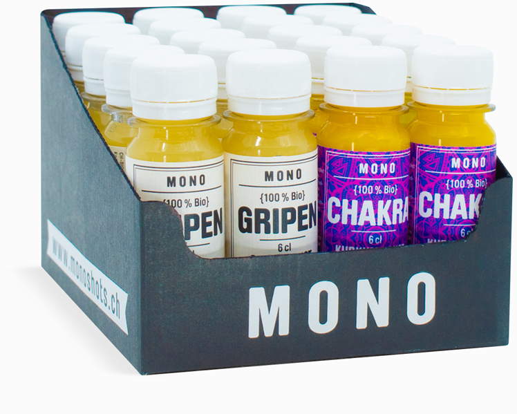Gripen-Chakra-Box mit 10 Ingwershots und 10 Kurkumashots. Made in Switzerland.
