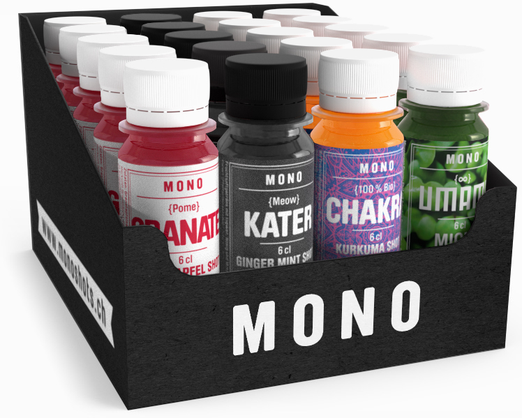 Wellness-Box mit je 5 Chakra, Kater, Granate und Umami-Shots. Made in Switzerland.